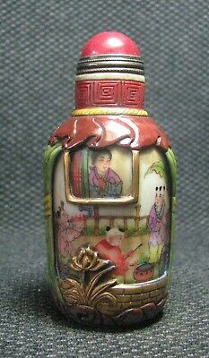 Chinese Delicate Glass Hand Painted Women And Children Snuff Bottle/////**