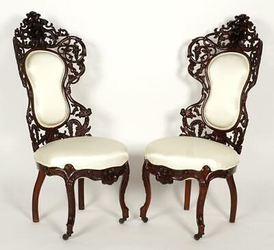 Pair Attrib. Belter Bird Pattern Parlor Chairs, circa 1860