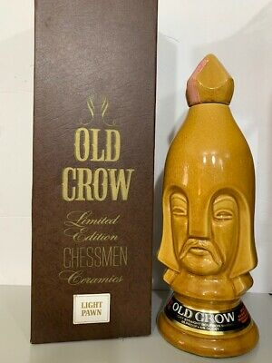 1960's Old Crow Limited Chessman Chess Piece Ceramic Decanter Light Pawn
