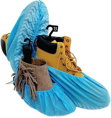 20pc Premium Disposable Boot Shoe Covers Water Resistant Durable Blue Recyclable