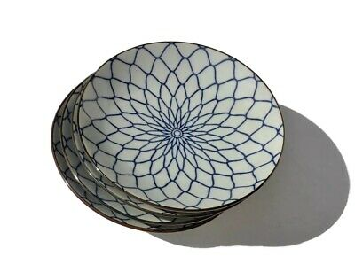 "Asian Japanese Fishnet Blue And White 5"" Porcelain Plates Set of 4"