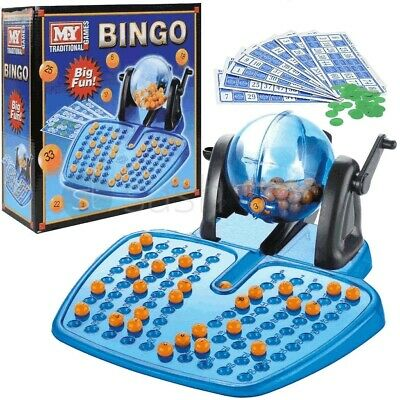 Classic Large Bingo Lotto Game Set Rotary Cage Party W/ 90 Numbers & 48 Cards US