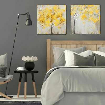 2Pcs Yellow Flowers Blossom Tree Canvas Wall Art Picture Printing Set Frameless#