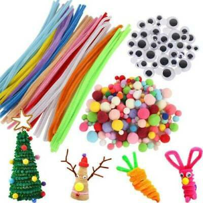 100X 10 Color Chenille Stems Craft Pipe Cleaners + Fluffy Pompoms + Toy Eyes Kit
