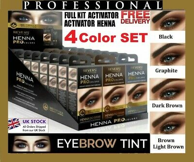4colors Henna Cream  Eyebrow  Black Dark Brown Grey 15applications Kit Tint 15ml