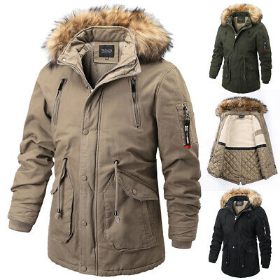 Winter Mens Cotton Coat Outwear Parka Hooded Fur Lined Jacket Military Warm V942