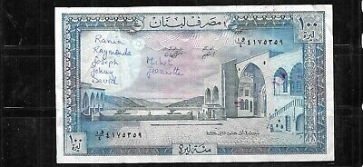 LEBANON #66d 1988 100 LIVRES VG CIRC  BANKNOTE PAPER MONEY CURRENCY NOTE