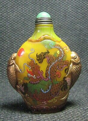 Chinese Delicate Glass Hand Painted Phoenix And Dragons Snuff Bottle----**