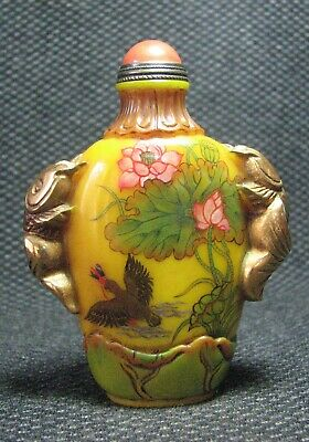 Chinese Delicate Glass Hand Painted Bird Catching Fish Design Snuff Bottle----**