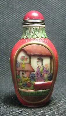 Chinese Delicate Glass Hand Painted People And Tangled lotus Snuff Bottle***