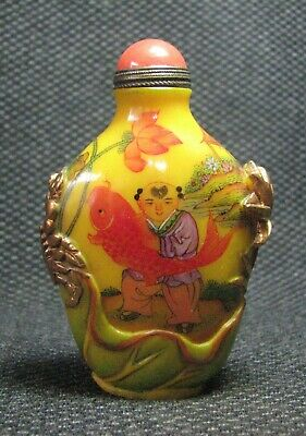 Chinese Glass Delicate Hand Painted Children Holding Carp Snuff Bottle****--
