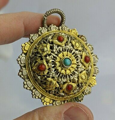 Antique / Old Bhutan Koma Brooch or Pendant Silver Coral & Turquoise Superb Gilt