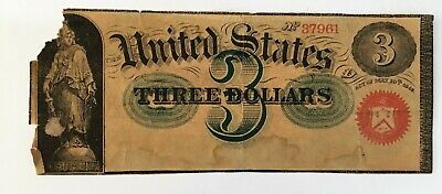 19th Century U.S. $3 Banknote 1869 Store Advertisement dated May 10th, 1869
