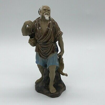 Vintage Chinese China Signed Figurine Figure Wise Old Man Ornament Pottery