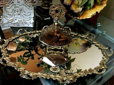 Vintage vanity mirror tray and perfume bottle