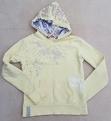 HENLEYS Pale Yellow Studded Long Sleeved Hoodie Cotton Blend Size 0 10-12 Yrs
