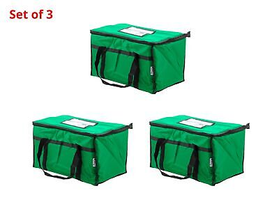 """Set of 3 Insulated Food Delivery Bag / Pan Carrier Nylon 23"""" x 13"""" x 15"""" Green"""