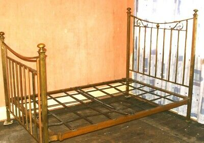 Original Victorian Double Brass Bedstead  Iron Frame