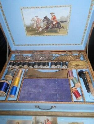 Antique French Sewing Box with Contents