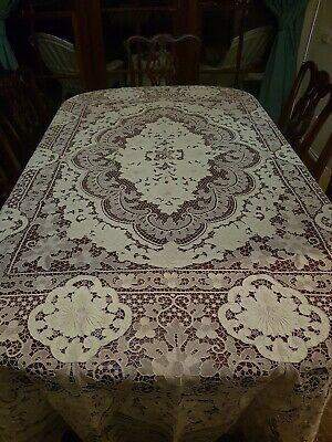 Vintage Ecru Italian Point De Venise Lace Tablecloth Needlelace Reticella 270cm