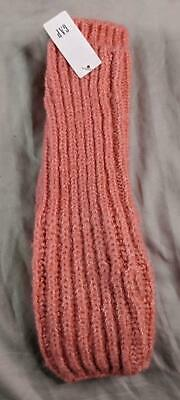 Gap Women's Solid Ribbed Knit Elastic Fingerless Gloves SH3 Pink One Size NWT