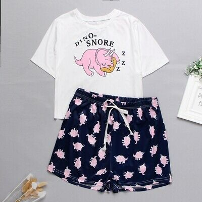 Women Pajamas Sets Summer Short Sleeve Top Cartoon Print Cute Loose Sleepwear Pj