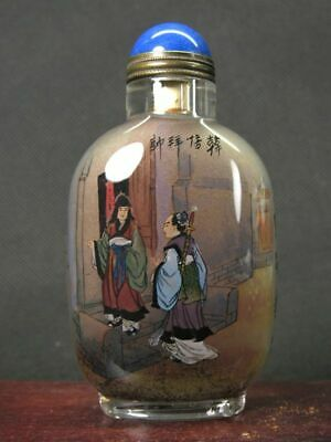 Chinese Ancient Person Inside Hand Painted Glass Snuff Bottle