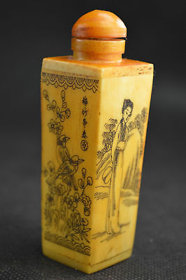 China Old Collectible Handwork B0ne Carving Children Playing Flower Snuff Bottle