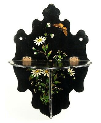 ^Antique 1800's Victorian Hand Painted Lacquered Wood Folding Display Wall Shelf