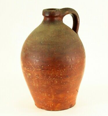 ^ Antique ea.1800's Salmon Red-Painted Stoneware Pumpkin Seed Whiskey Jug