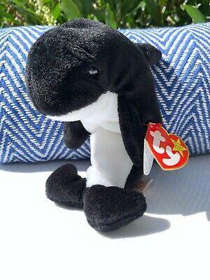 Ty Beanie Baby Waves Whale Orca 1996 MWMT