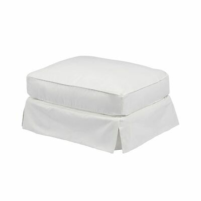 Sunset Trading Americana Ottoman Polyester Fabric Washable Slipcover - White