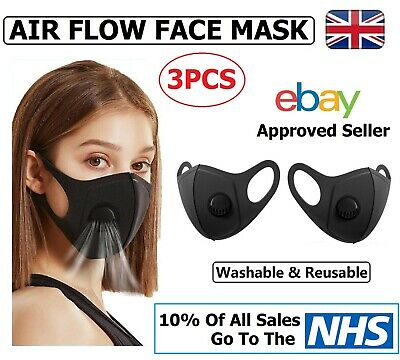 3 x Air Flow Face Mask -  Face, Mouth & Nose Protection Masks