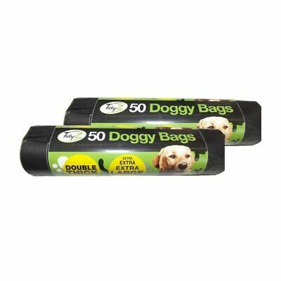 50 Puppy Poop Dog Poo Bags Extra Large Double Thick Tie Handles Doggy Waste Bags