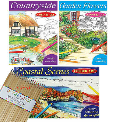 COASTAL COUNTRY MIND RELAXING COLOURING BOOK Adult Stress Relief Colour Therapy