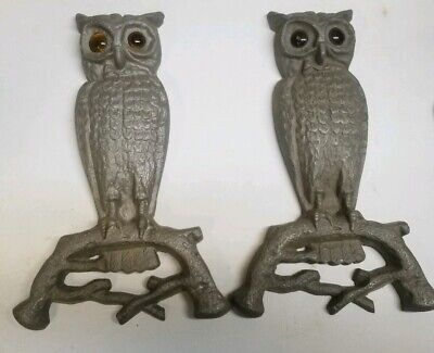 Antique Cast  Owl Andirons with Glass Eyes.