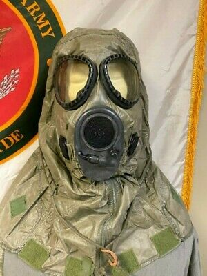 Vintage US Military M17 Gas Mask & Hood size M Chemical Biological Mask