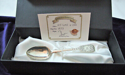 GIRL Victorian Christening Spoon 1873 Christening Classic BOXED + COA 17g