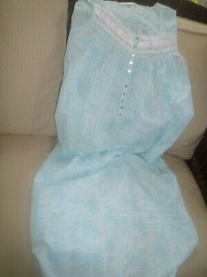 Eileen West Aqua Blue Embroidered Floral Lawn Cotton Long Gown M NWT