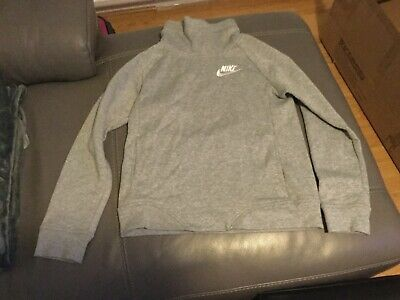 Nike Girls Grey Cotton Top Jumper (Size: L / 10-12 Years)