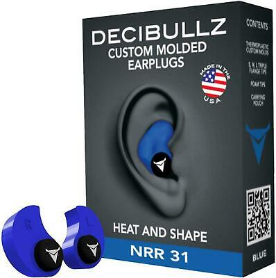 DECIBULLZ Custom Moulded Ear Plugs Hearing Protection Defenders Shooting- Blue