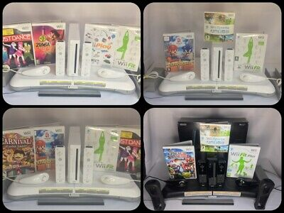 Wii Console  All Official Remotes & Nunchuks + Fit Board + Games *Choose Bundle*
