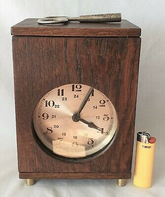 Clock Mantel Shelf Oak Case 8 Day Key Wind Vintage Industrial 1950s ?