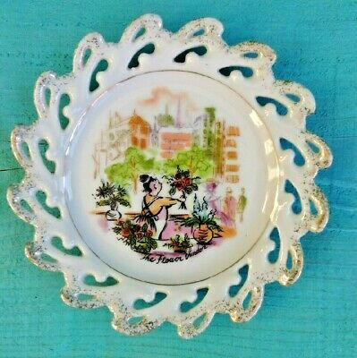 """Vintage """"The Flower Vendor"""" Collector Plate Made in Japan Wavy Glittered Edges"""