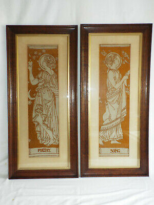 """Pair Arts & Crafts embroidered panels, """"Poetry"""" & """"Song"""""""