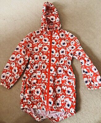 Girls NEXT Poppy Red Raincoat Zip & Hood Age 5-6 Yrs
