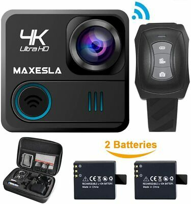 Maxesla 4K Sports Action Camera 2'' WIFI HD 16MP Waterproof Camcorder with Case