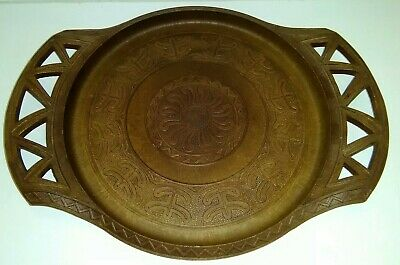 Lovely Vintage Italian Bakelite? Carved Wood Effect Plastic Tray Made In Italy