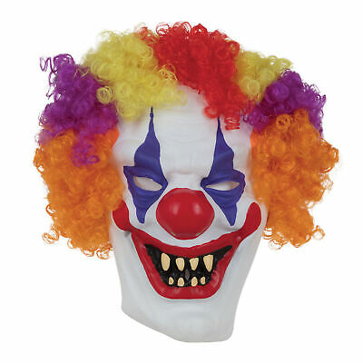 Adults Scary Clown Mask with Hair Evil Halloween Fancy Dress Kids Boys Mens