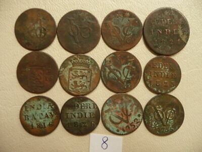 Lot of 12 Netherlands East Indies Duit Coins 1700s and 1800s - Lot 8